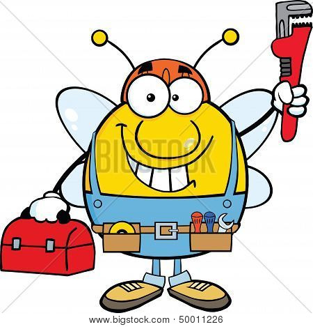 Pudgy Bee Plumber With Wrench And Tool Box
