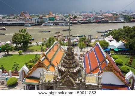 Bangkok river cityscape view from Wat arun temple top, Thailand
