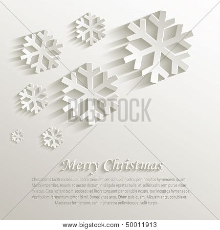 vector christmas snowflake natural paper 3D