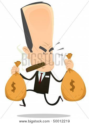 Illustration of a funny bad banker crook running away with bags full of dollars symbolizing hold up from oligarchy poster