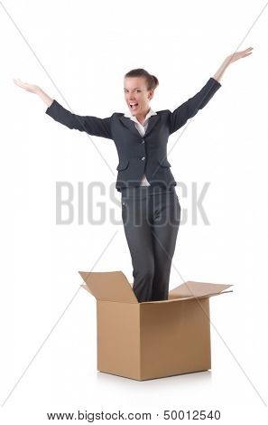 Woman with boxes on white
