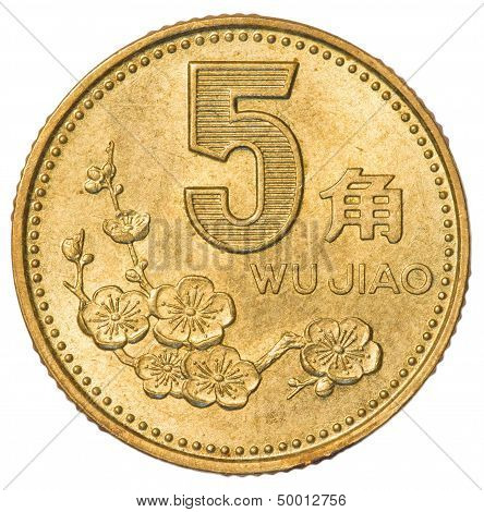 five Chinese jiao coin