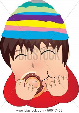 The boy eat donut