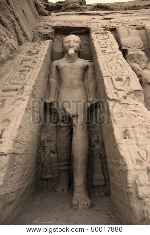 Statue of Rameses II outside the Hathor Temple of Queen Nefertari. UNESCO World Heritage Site known as the Nubian Monuments. Abu Simbel West Bank of Lake Nasser southern Egypt. Africa