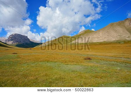 Amazing hills and marvellous blue sky with clouds