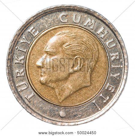 50 turkish kurus coin isolated on white background poster