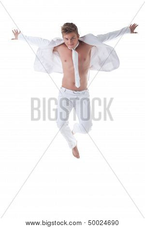 Perky dancer in stylish suit, isolated on white