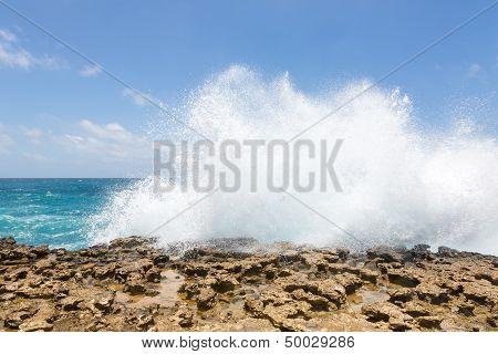 Waves Crashing Over Limestone Coastline