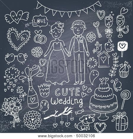 Vintage wedding set in cartoon style on chalkboard background. Couple of lovers, birds, dog, vine, rings, bouquet, hearts, flowers, cupcake, candy and other romantics symbols in vector poster