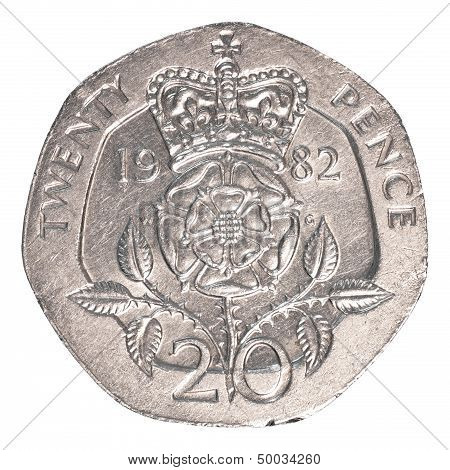 20 british pennies coin