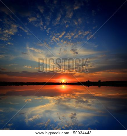 Nice sunset over lake