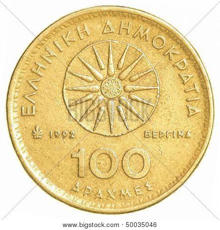 100 Old Greek Drachmas Coin