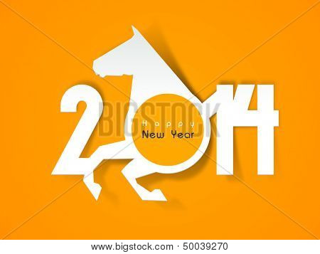 Happy New Year 2014 celebration background with Chinese symbol of the year horse.