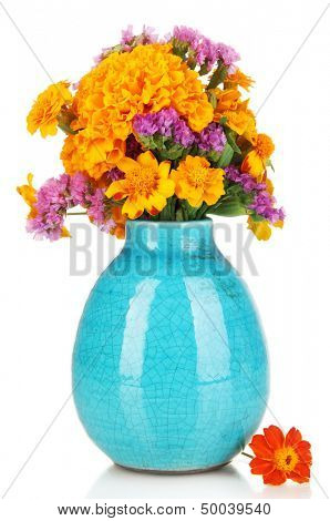 Bouquet of marigold flowers in vase isolated on white