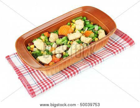 Casserole with vegetables and meat, isolated on white