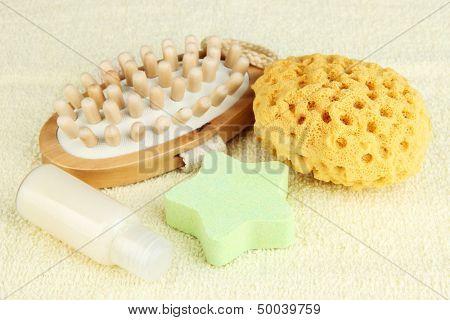 Set for spa, on color towel background