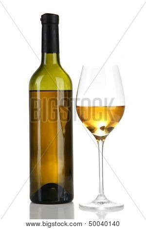 Wine bottle and wineglass with white wine, isolated on white