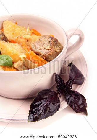Homemade beef stir fry with vegetables in color bowl, isolated on white
