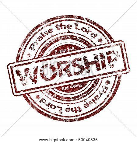 """""""Worship""""  Grunge Rubber Stamp"""