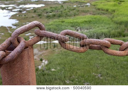 Rusty old chain links