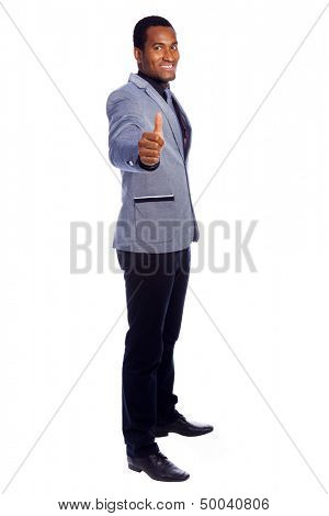 Handsome business man thumbs up, isolated over white background