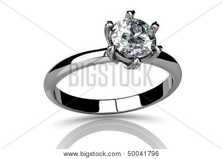 Wedding Ring On White Background