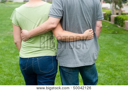 Elderly Seniors Couple In Park