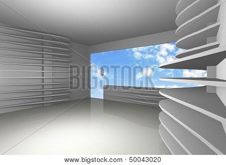 White Curve Shelfs In Empty Interior