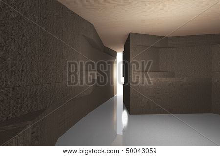 Futuristic Interior With Bark Wood Wall