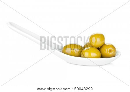 Green olives. Isolated on white background