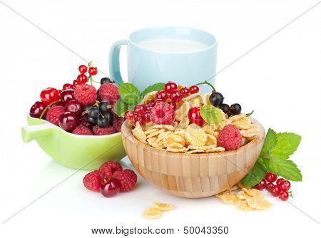 Fresh corn flakes with berries and milk cup. Isolated on white background