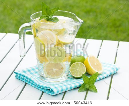 Homemade lemonade with fresh citruses