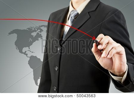 Businessman Hand Drawing Chart Red Down Arrow