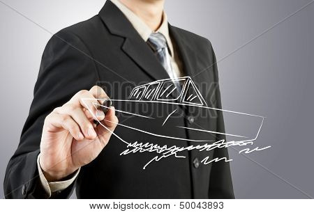 Business Man Drawing Boat