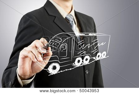 Businessman Drawing Truck