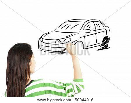 Woman Draw Car Transportation