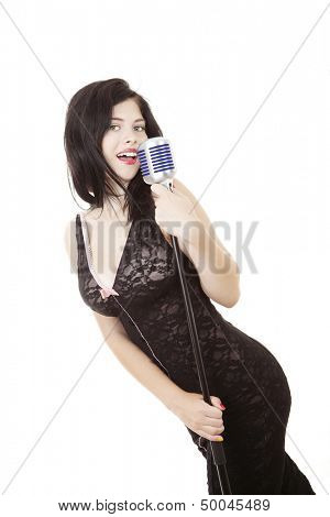woman singer with microphone