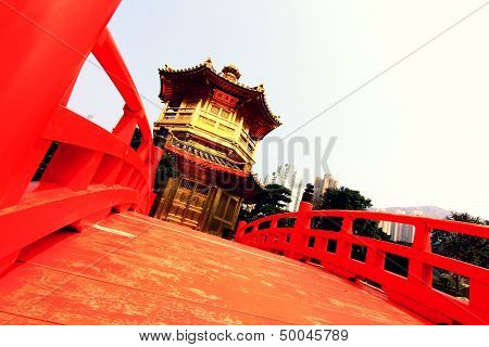 Perfection Pavilion With Red Bridge