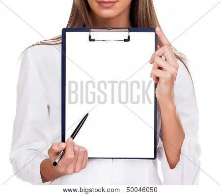 Doctor woman with empty document, copyspace