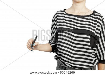 Woman Drawing Or Writing On White Background