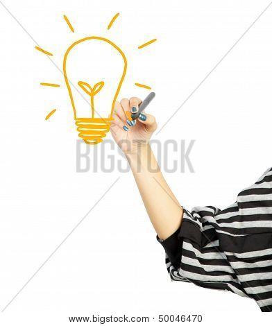 Woman Drawing Light Bulb Idea Concept