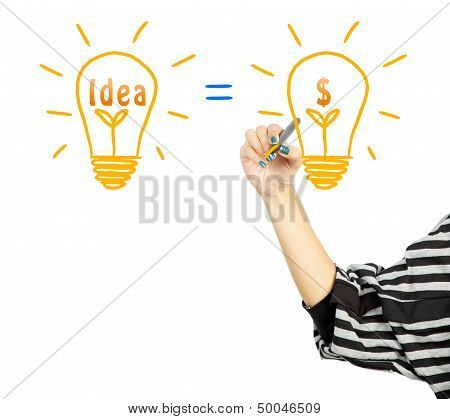 Woman Drawing Light Bulb Idea And Dollar Symbol