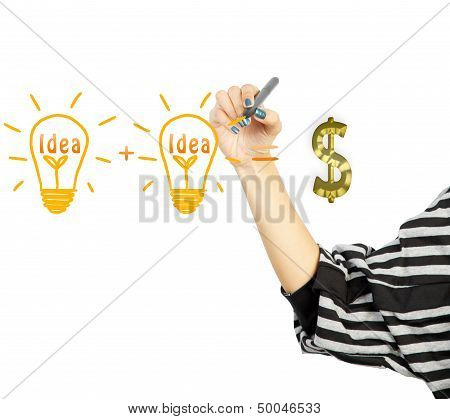 Woman Drawing Light Bulb Idea And Dollar Symbol