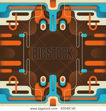 Modish abstraction with colorful objects. Vector illustration.