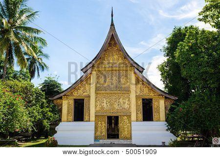 Wat Xieng Thong Buddhist temple in Luang Prabang World Heritage Laos poster