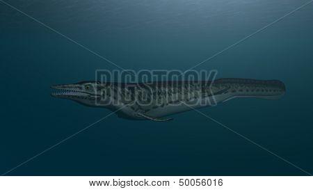 mosasaur in ocean depth
