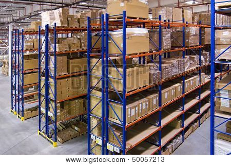 Warehouse with shelves and boxes