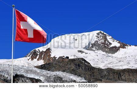 Mount Alphubel with Swiss flag - Wallis, Swiss alps