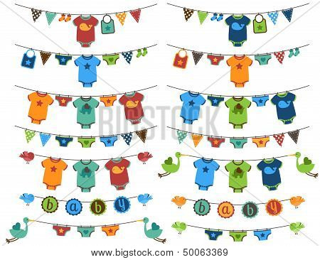 Vector Set of Baby Boy Themed Clotheslines with Storks and Birds