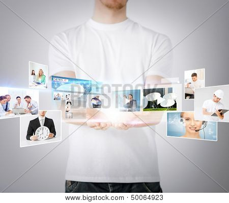 technology, internet, tv and news concept - man hands with virtual screens